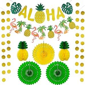Hawaiian Aloha Party Decorations,Luau Party Supplies Hawaiian Party Decorations Tropical Party Decorations Summer Beach Pool Decor Large Gold Glittery Aloha Banner and Flamingle Pineapple Garland