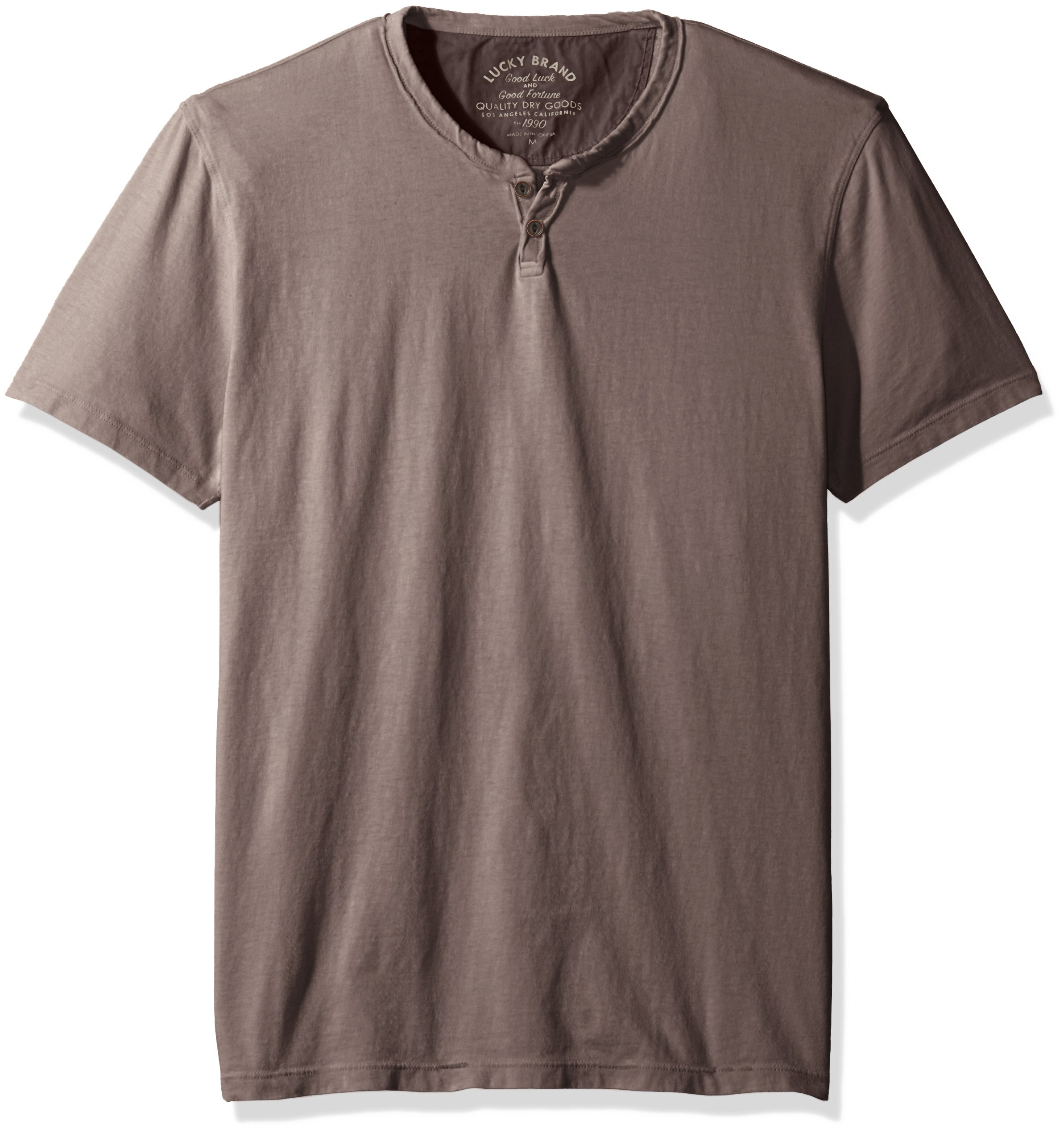 Lucky Brand Men's Button Notch Neck Tee, Raven, XX-Large