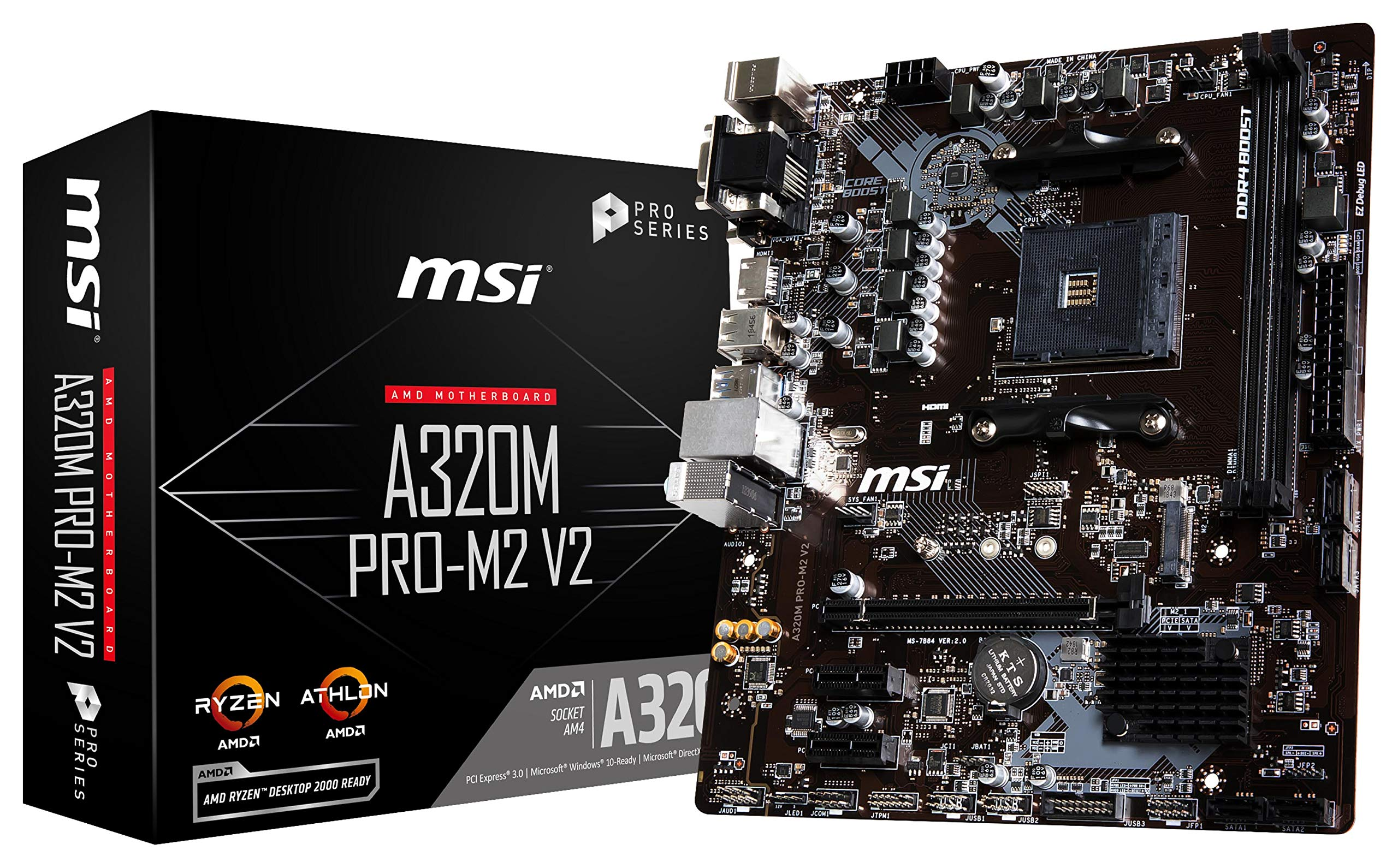MSI ProSeries AMD A320 Ryzen 1st and 2ND Gen AM4 DDR4 HDMI DVI VGA M.2 USB 3 Micro-ATX Motherboard (A320M PRO-M2 V2) by MSI