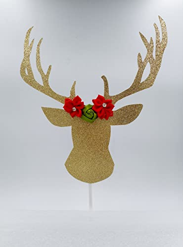 christmas cake decorations gold glitter deer head cake topper - Christmas Cake Decorations Amazon