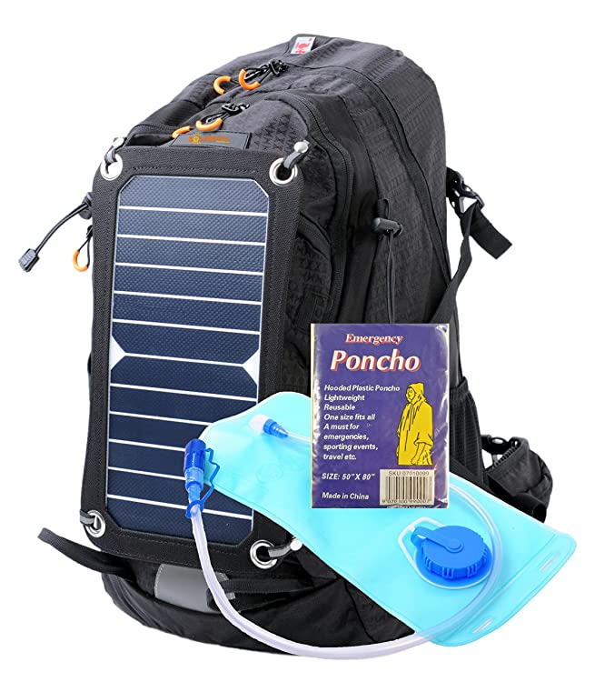 SolarSak External Frame Hiking / Camping Hydration Backpack - Water Resistant, Includes 2L Hydration Bladder, and a Waterproof 7W Solar Panel Charger