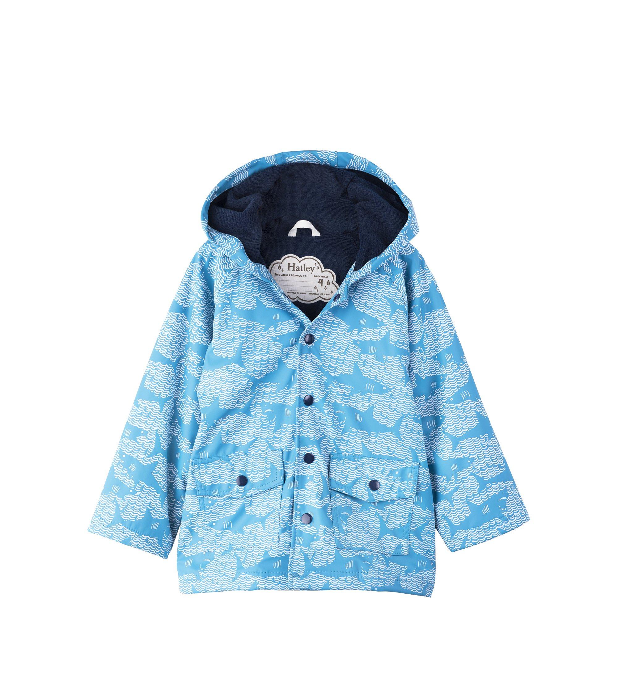 Hatley Kids Baby Boy's Shark Alley Classic Raincoat (Toddler/Little Kids/Big Kids) Blue 4 US Little Kid