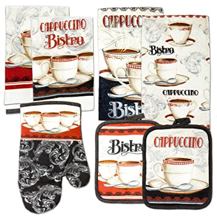 kitchen towel linen set of 7 pieces coffee bistro cappuccino italian cafe themed design - Kitchen Towel Sets
