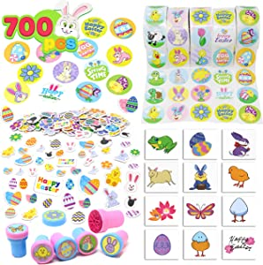 Easter Crafts Assortment Kit with 500 Easter Stickers, 144 Easter Shapes Adhesive, 60 Easter Theme Temporary Tattoos and 6 Easter Stampers (Over 700 Pieces) for Easter Egg Basket Stuffers Fillers