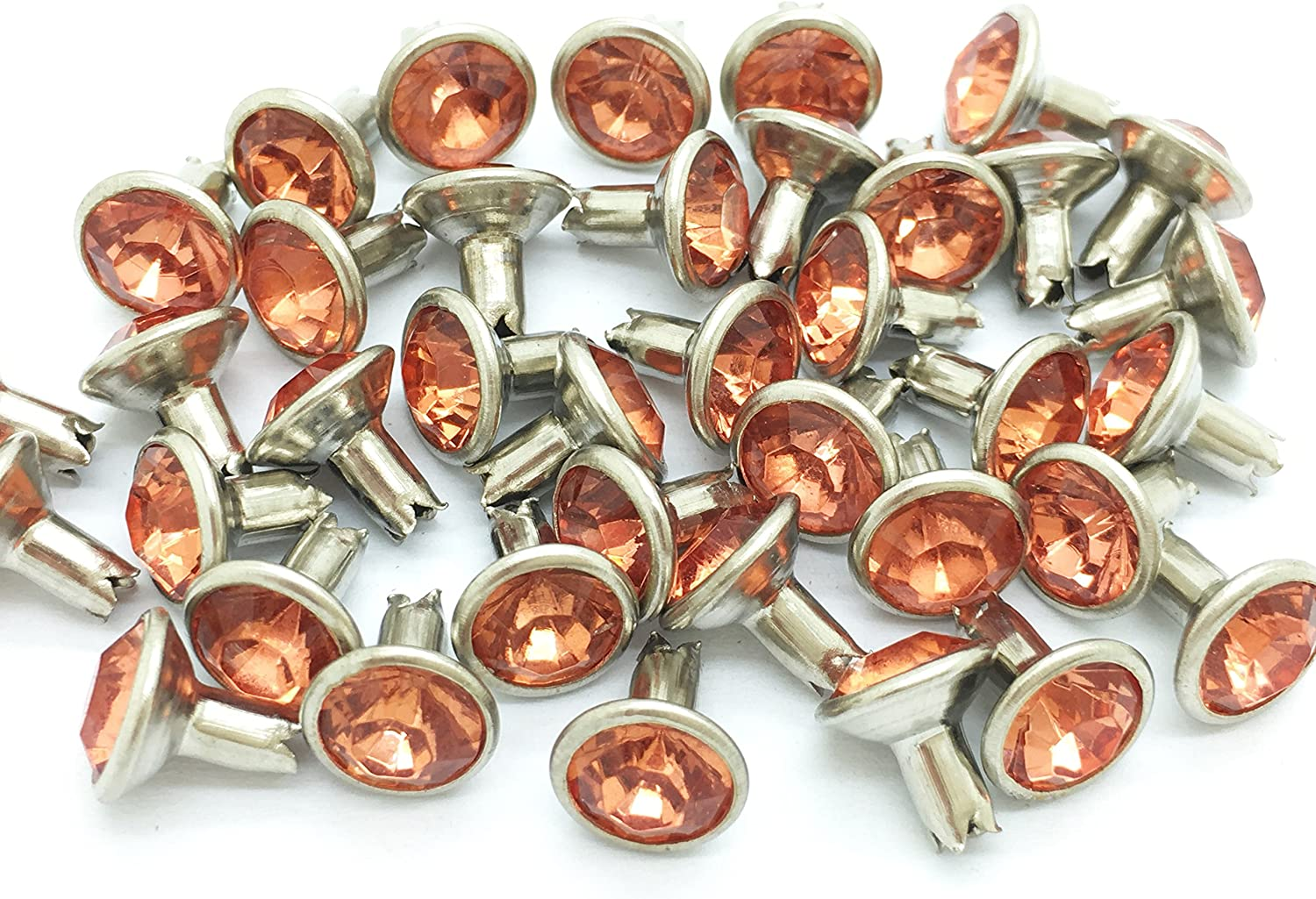40Set 8mm Orange Synthetic Crystal Rivets Rhinestone Rivet Leather Craft RV6108