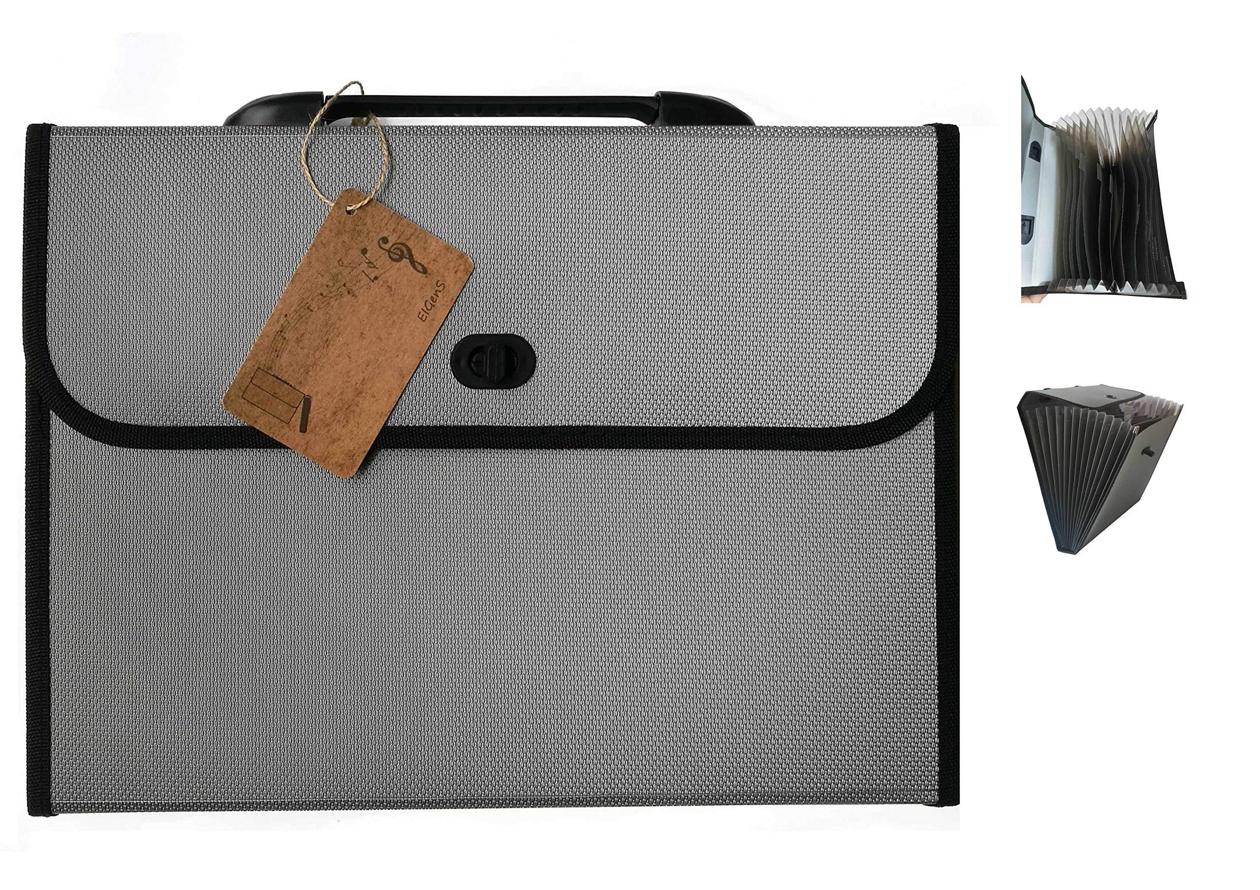 EIGenS 13 Pockets Expanding File Folder with Handle - A4 Size Expandable File Organizer File Folder Wallet Briefcase Documents Filing Box (Gray, Mediun)
