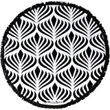 Bonita Beach Collection Round 'Roundie' Beach Towel Thick Terry Cotton with Fringe Tassels - Various Designs & Colors (The Congo Peacock (Black & White))