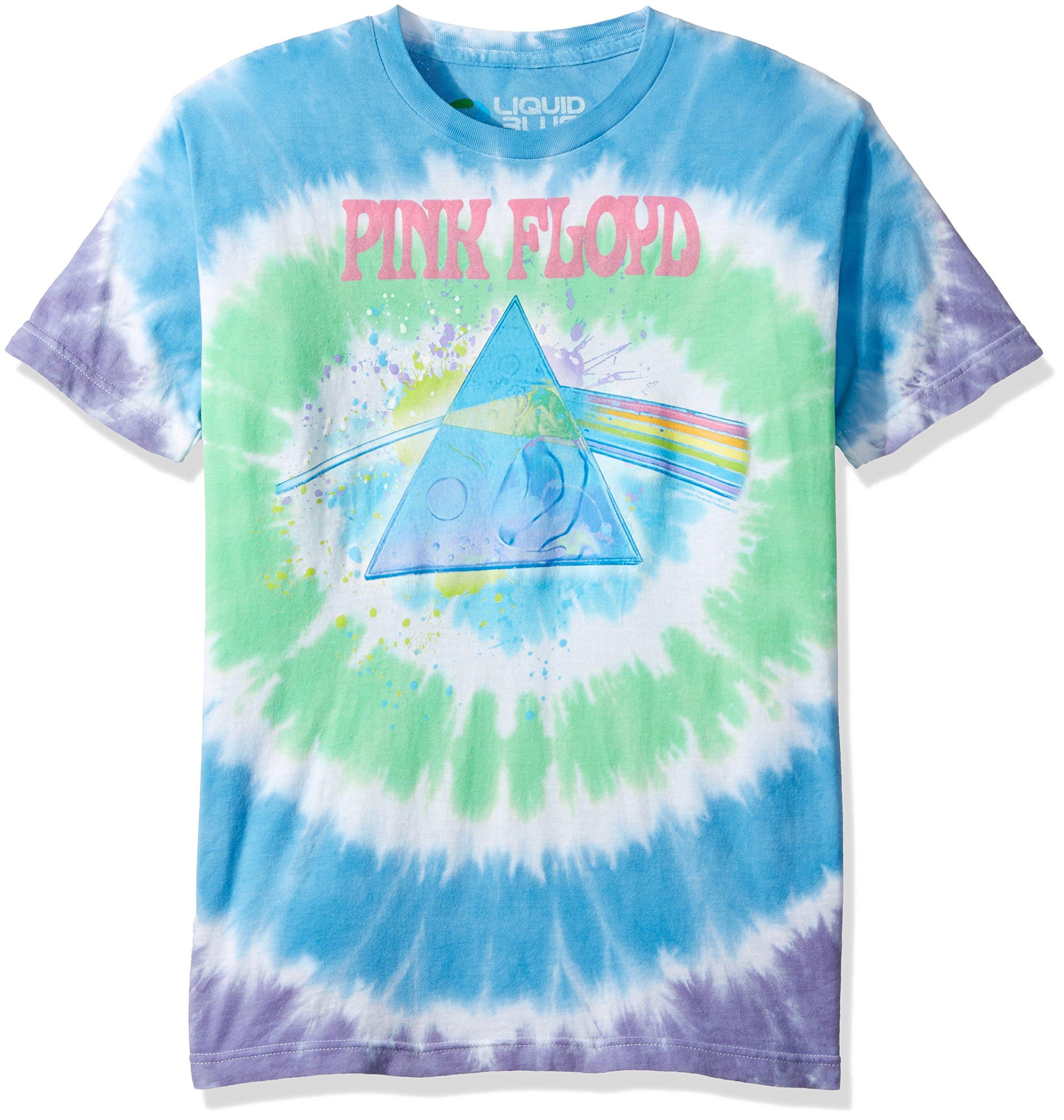 Liquid Blue Men's Pink Floyd Dark Side Oil Paint Tie Dye Short Sleeve T-Shirt, Multi Tie Dye, Large