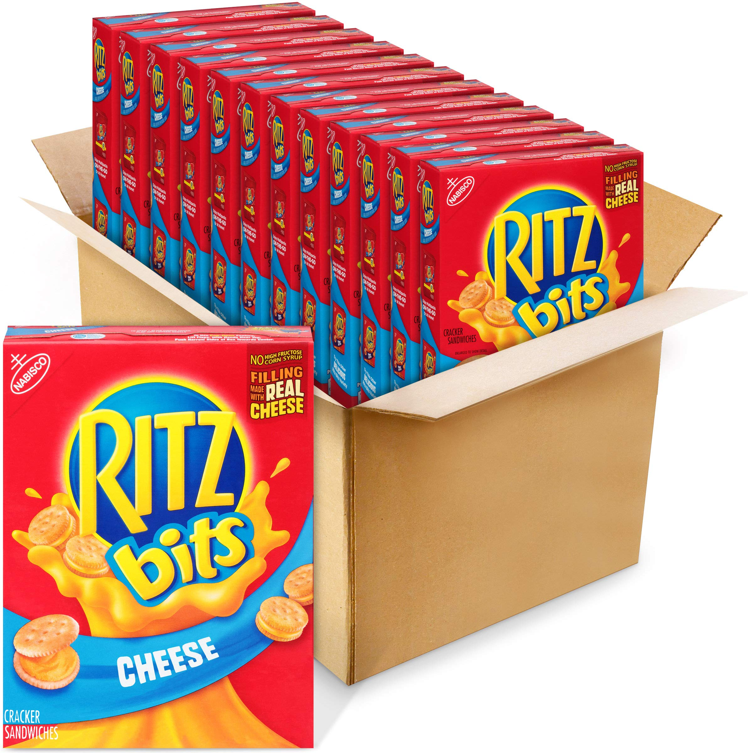 RITZ Bits Cheese Sandwich Crackers, 12 - 8.8 oz Boxes