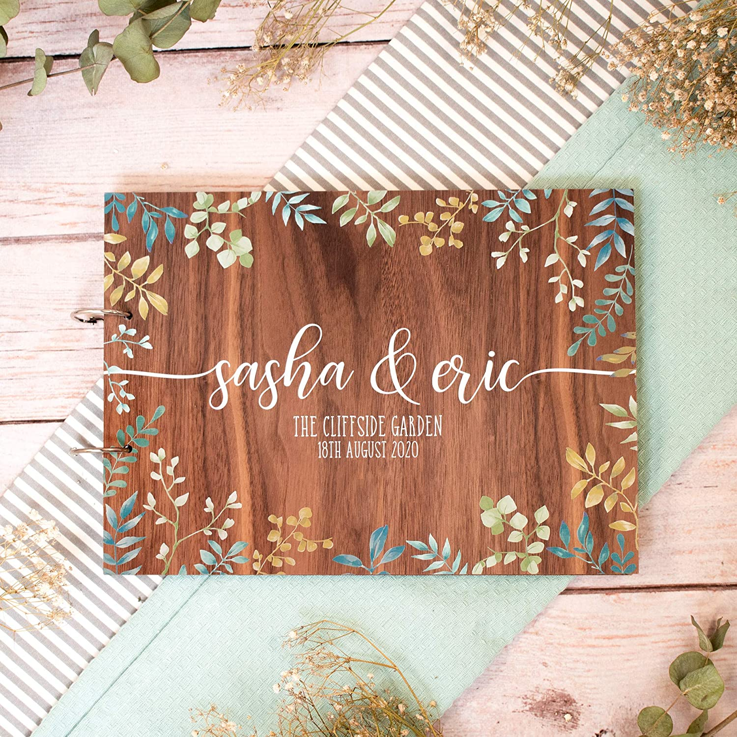 personalised green leaf guestbook for weddings alternative wood books Wedding guest book wooden
