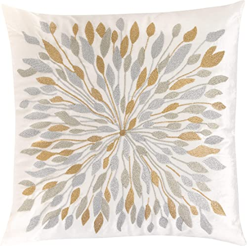 Forest Twelfth Home Velvet Throw Pillows-Decorative Throw Pillows for Living Room and Bedroom with 100 Polyester Filling-Soft Cotton Blend Home Decor Pillows Off White Silver Gold, 18 x 18