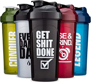 Hydra Cup [5 Pack] OG Shaker Bottles 28-Ounce, Max Value Blender Pack, Protein Shaker Cups, 5qty Stand Out Colors & Logos Version Two