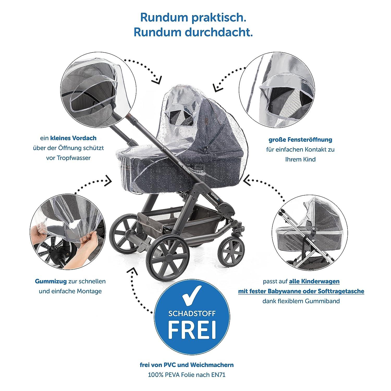 p. ej. Bugaboo, Stokke, Jan/é, etc. | Buena circulaci/ón de aire ventana con visera Protector de lluvia universal para cochecitos // capazos de beb/é libre de sustancias nocivas
