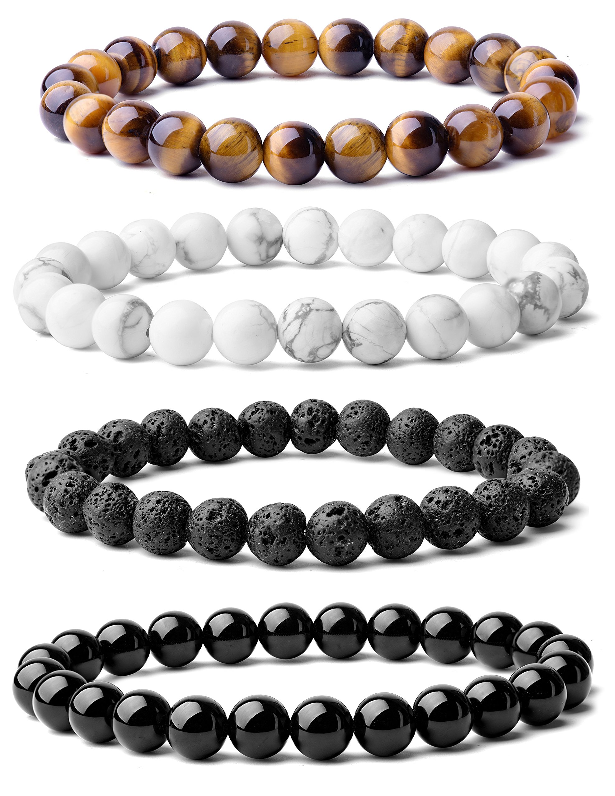 WRCXSTONE Natural 8mm Gorgeous Semi-Precious Gemstones Healing Crystal Stretch Beaded Bracelet Unisex (4 Pieces A Set(4 Colors)) by WRCXSTONE