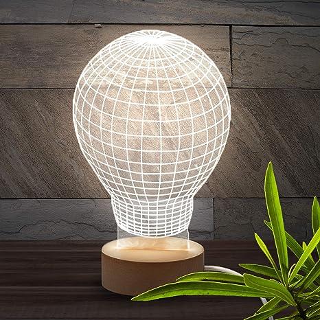 Brunoko Lámpara Bulbo 3D de mesa - Luz LED sobremesa Estilo en Vintage Edison Lamps Antigua- Lampara Base de Madera Conexión USB perfecto para salon, ...