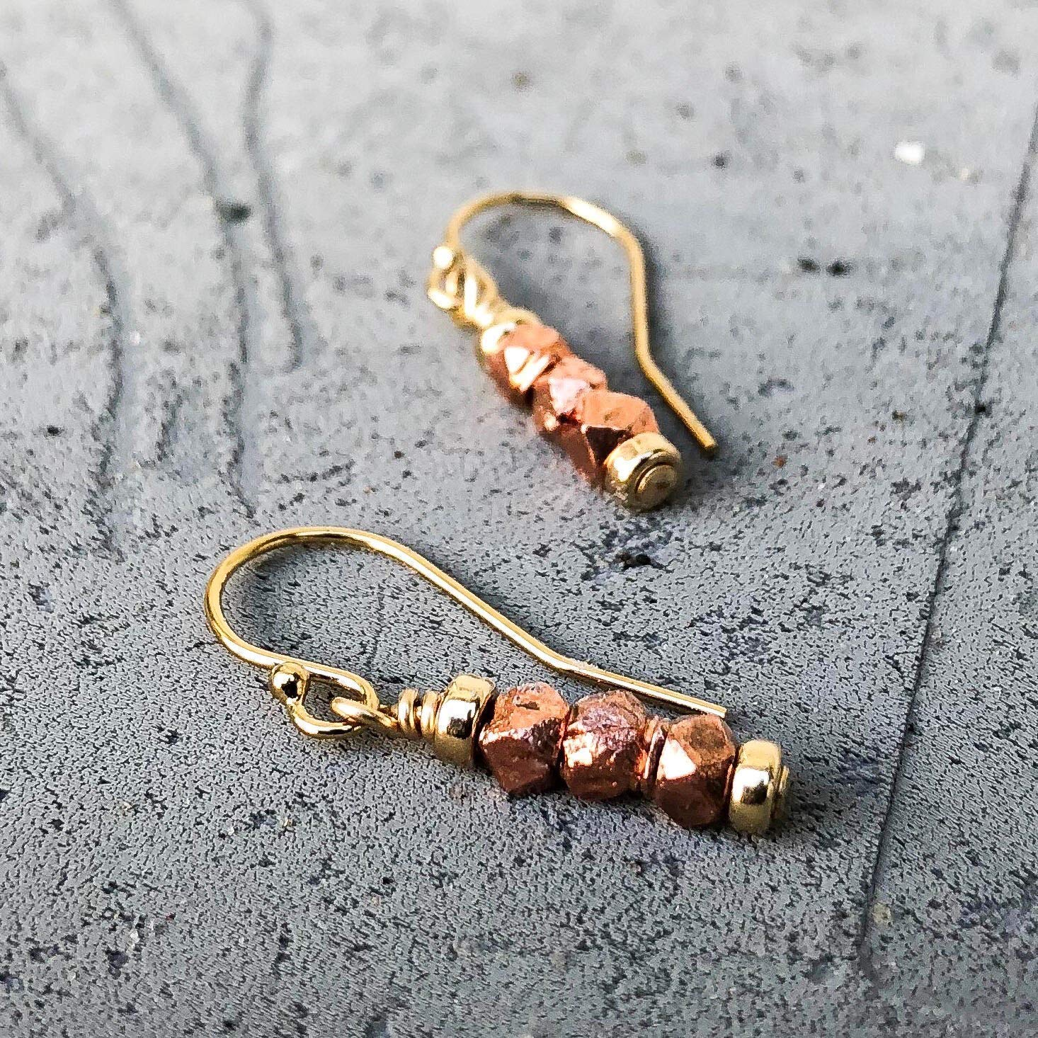 7th Anniversary Gift for Her Copper Jewelry Small Mixed Metal Gold Copper Earrings