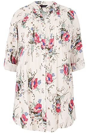 da0bc3f6057f0 Women s Plus Size Ivory   Multi Floral Pintuck Longline Blouse with Sequin  Detai Size ...