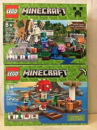 Amazon.com: LEGO Minecraft The Mushroom Island & LEGO Minecraft The ...