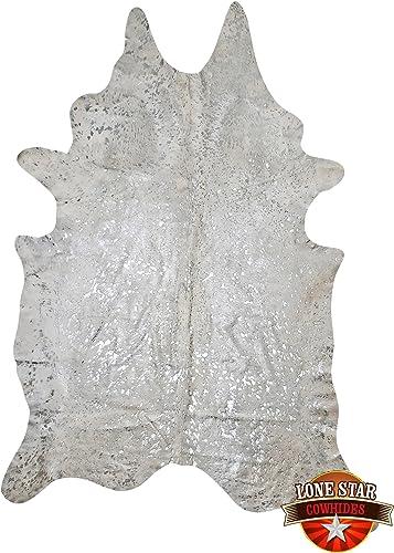 Silver on White Devore Metallic Brazilian Cowhide Rug