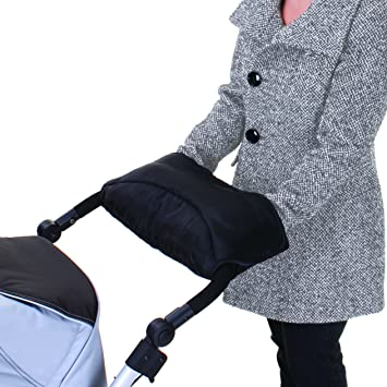 Pram Gloves Thermo Fleece Stroller Hand Warmer Pram Mittens Waterproof Anti-Freeze Extra Thick and Breathable for All Stroller and Buggy- Black with 1 Buggy Hooks Baby Pushchair Hand Muff