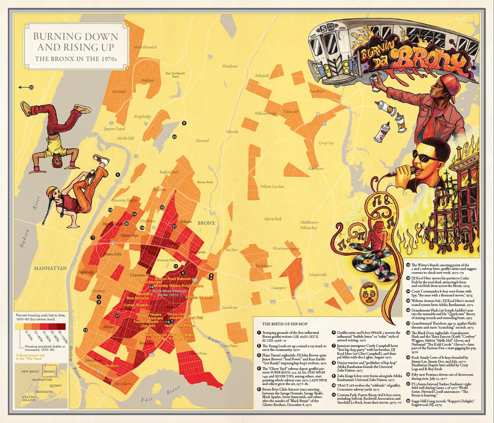 Bronx Fires/Hip-Hop Map from