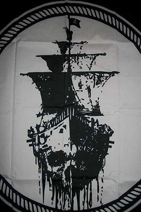 Amazon com 3x5 ghost pirate ship flag black sea mutiny jolly roger skull sword banner 3x5 garden outdoor