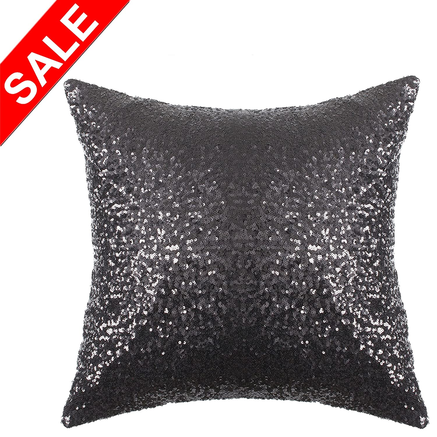 Kevin Textile Solid Bling Glitter Home Decorative Square Cushion Cover Sham Sofa/Party, 18