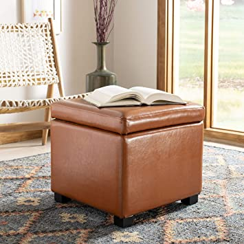 Astounding Safavieh Hudson Collection Ryder Leather Square Flip Top Ottoman Saddle Squirreltailoven Fun Painted Chair Ideas Images Squirreltailovenorg