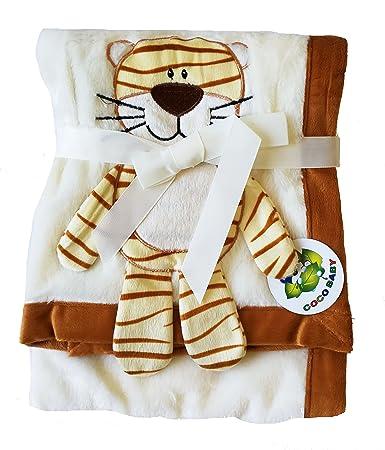 """30/"""" x 40/"""" 3D Monkey Brown Plush 2 Ply PV Baby Boys Blanket"""