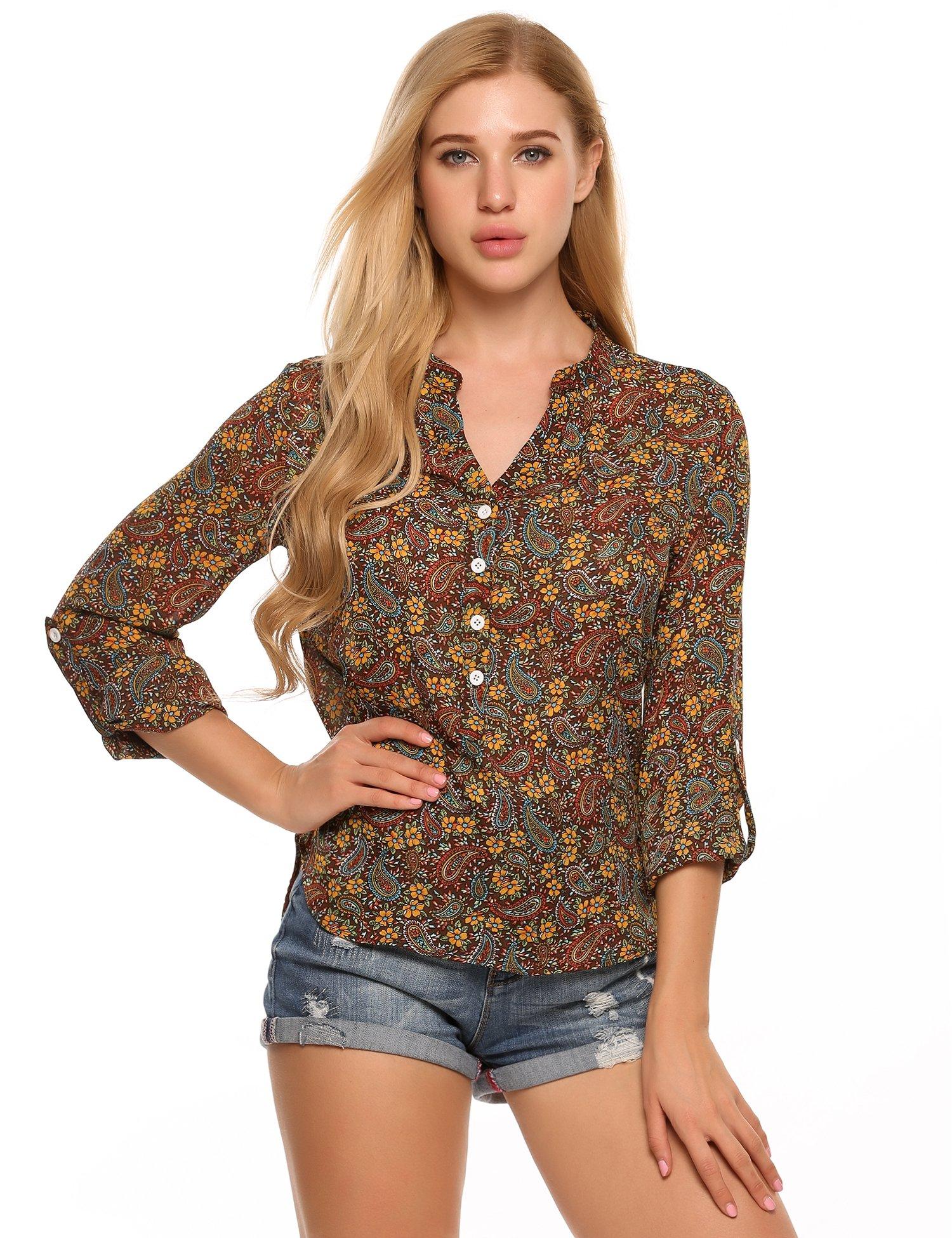 Meaneor Mujer Camisa Blusa Gasa Estampado Shirt Top Floral Casual Irregular