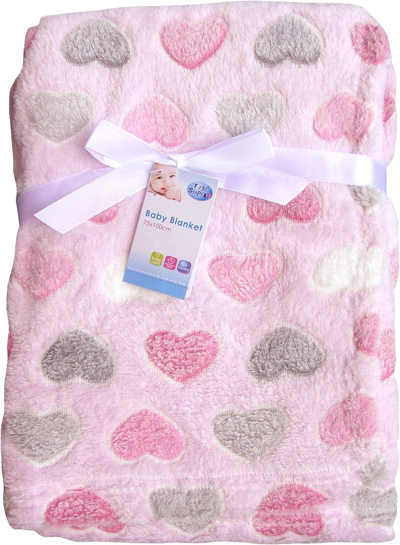 Sweet Baby Lot de 2 couvertures pour b/éb/é en polaire douce Motif pois 75 x 100 cm