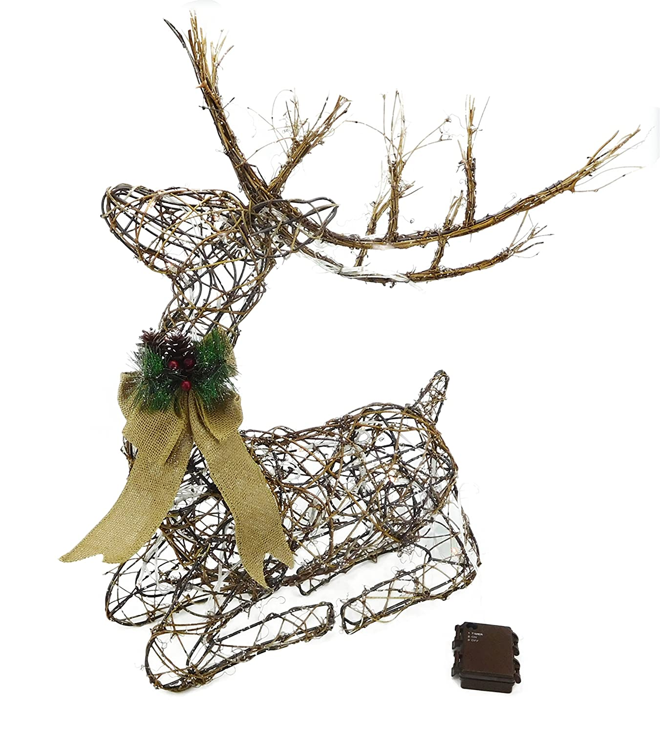 Christmas Concepts® 26 Battery Operated Sitting Rattan Reindeer with Warm White LED Lights - Christmas Decorations
