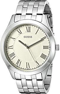 GUESS Mens U0476G2 Dressy Silver-Tone Watch with White Dial and Stainless Steel Deployment Buckle