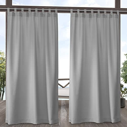 Exclusive Home Curtains Indoor Outdoor Solid Cabana Tab Top Curtain Panel Pair, 54×120, Cloud Grey