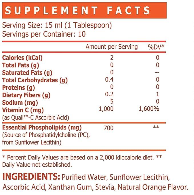 Vitamina C Liposomal* Quali-C Europeo con Fosfatidilcolina de Lecitina de Girasol, Sin Soja, Sin Azúcar, Sin Edulcorantes Artificiales, Sin OMG, ...