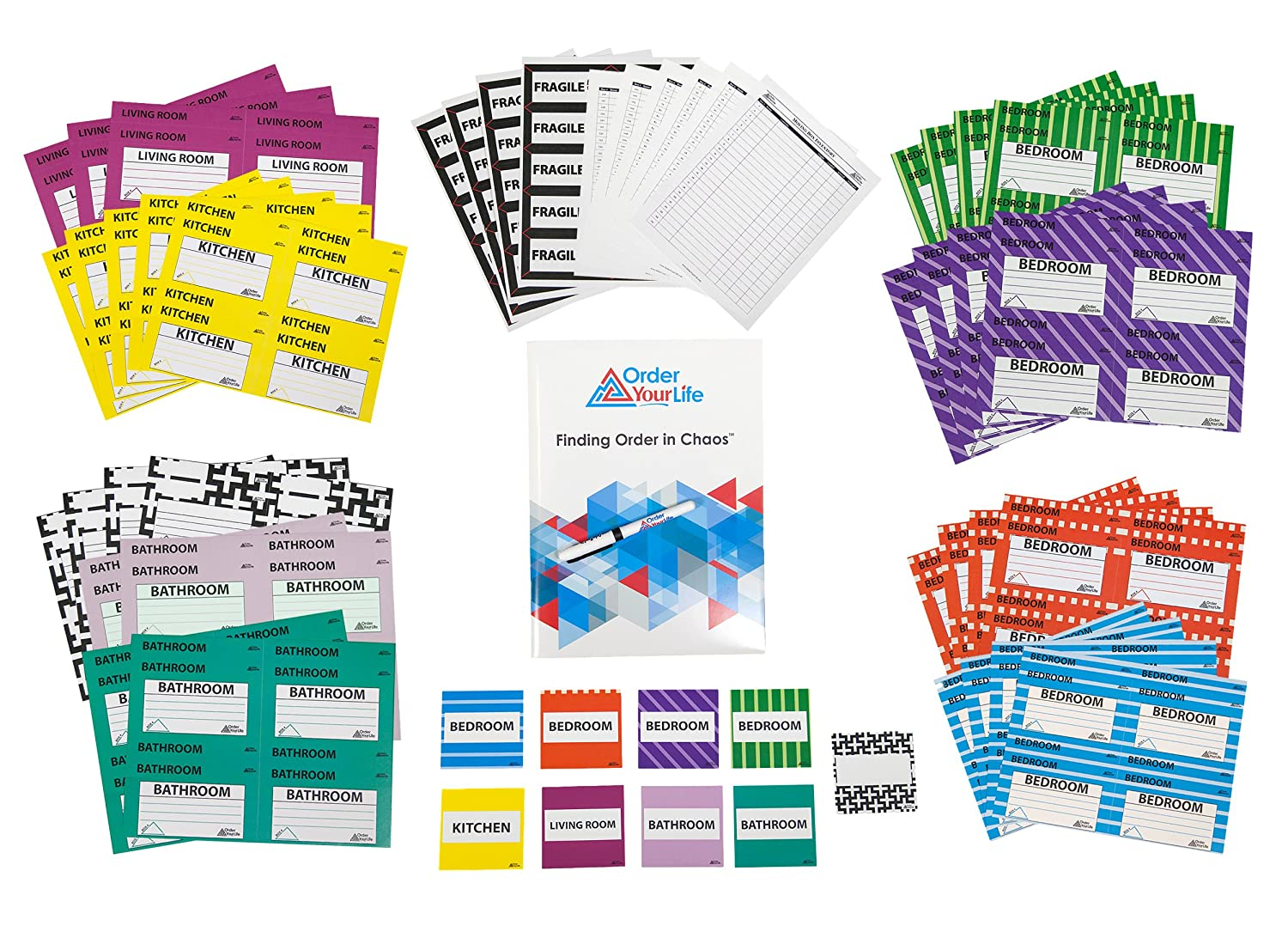 6997cd07bb4 4 Bedroom Moving Label Kit - 424 Large Color Coded Moving Labels ...