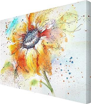 Leinwandbild Painted Sunflower Panorama Quer Leinwand XXL Wandbild Kunstdruck