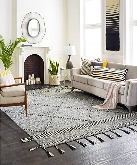 Amazon Com Artistic Weavers Zanafi Moroccan Area Rug 2 X 3 Jet Black Furniture Decor