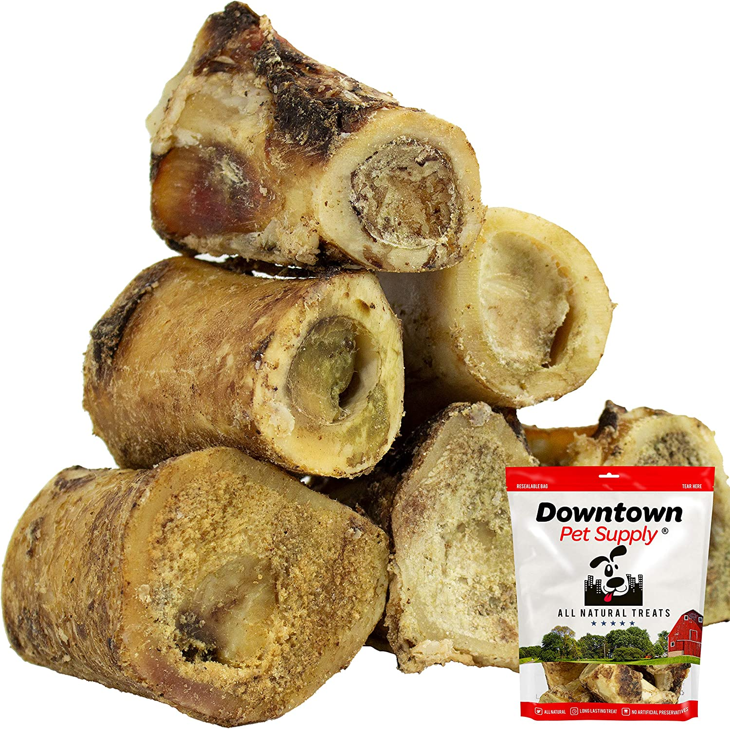 Downtown Pet Supply Premium 3 and 5 Inch USA Beef Marrow Stuffed and Plain Dog Bone, Long Lasting Meaty Chew Treat for Dogs, Aggressive Chewers (4 Pack, 8 Pack, 12 Pack)