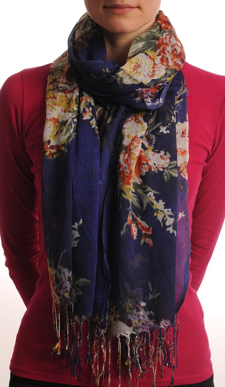 Vintage Impressionist Flowers With Tassels On Dark Blue - Blue Designer Scarf