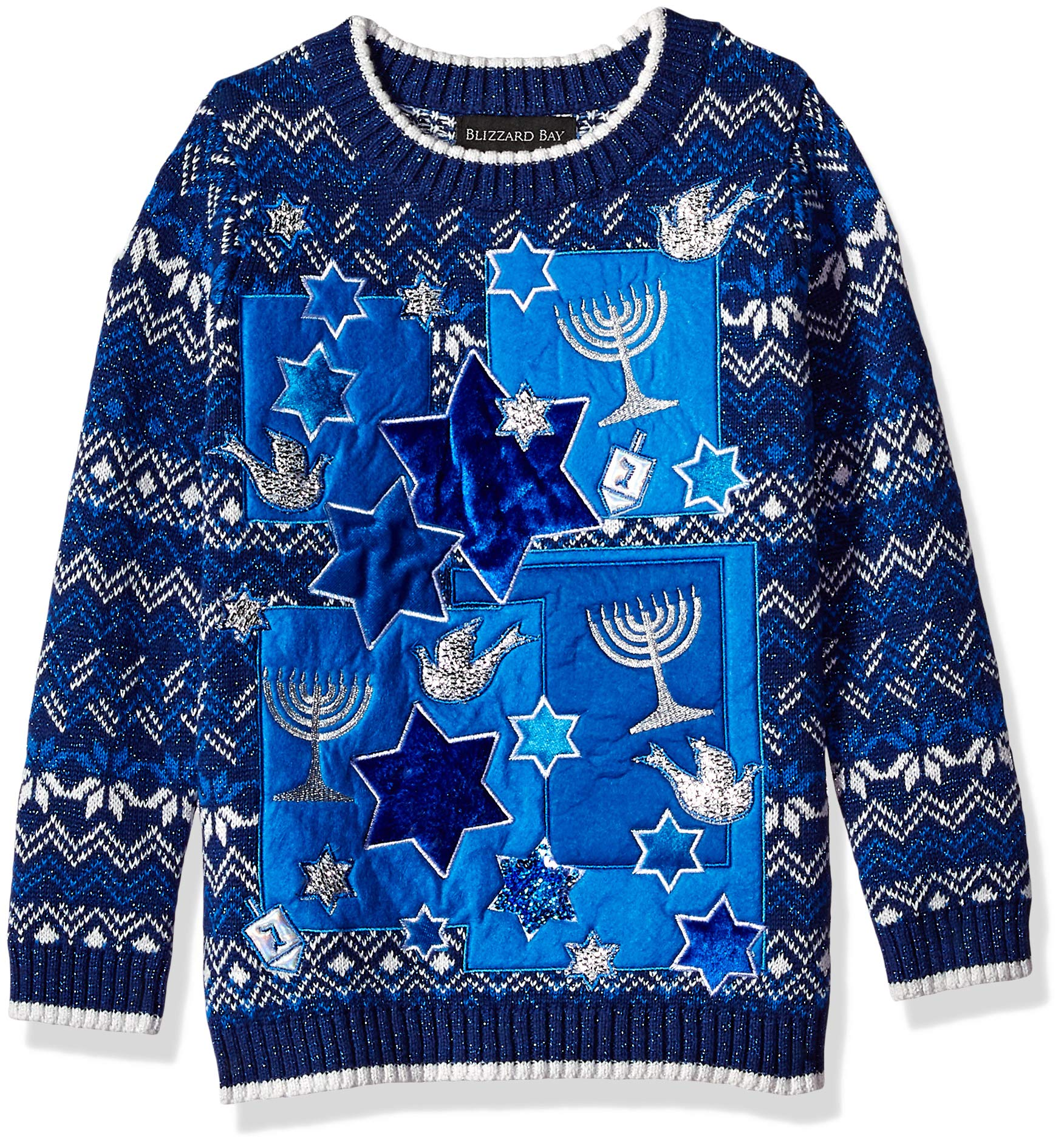Blizzard Bay Boys' Toddler Long Sleeve Crew Neck Stars Ugly Christmas Sweater, Blue Combo, 6X/XL