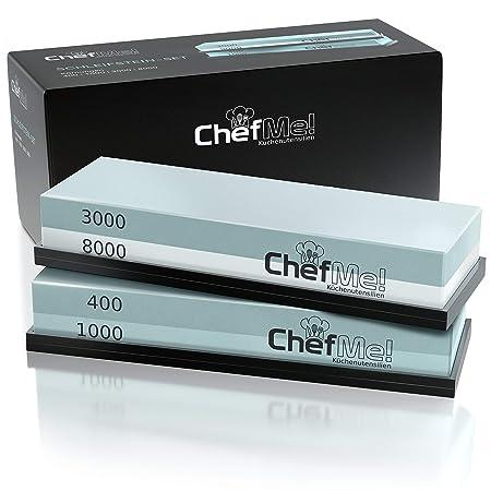 ChefMe! Schleifstein Set 4-in-1 mit deutscher Anleitung 400/1000/3000/8000 - Wetzstein zum Messer schärfen mit rutschfester U