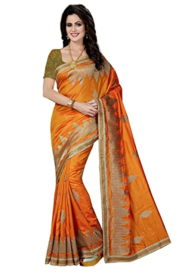 eb73d5e725fbe9 Rani Saahiba Embroidered Art Silk Saree with Brocade Blouse(SKR2760 Gold)   Amazon.in  Clothing   Accessories