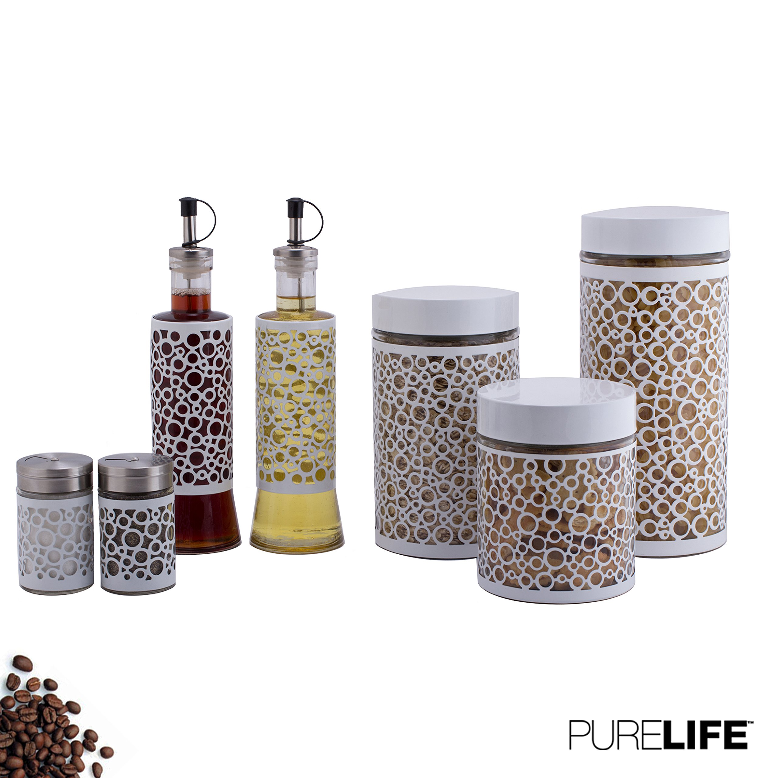 Canisters Sets for the Kitchen, Salt and Pepper Shakers & Vinegar and Olive Oil Dispensers 7 Pc Set - Glass Food Storage Containers W/Condiment Jars & Refillable Bottles - Covered in White Metal