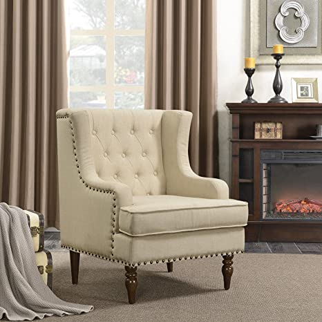Outstanding Belleze High Back Club Accent Chair With Fabric Cushion And Nailhead Trim Arm Rest Extra Support Wood Legs Beige Bralicious Painted Fabric Chair Ideas Braliciousco