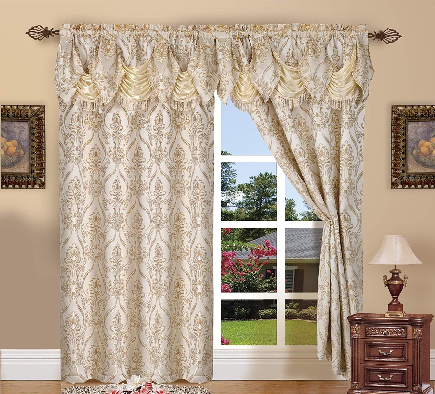 Elegant Comfort Penelopie Jacquard Look Curtain Panel Set with Attached Waterfall Valance, Set of 2 54x84 Inches Beige