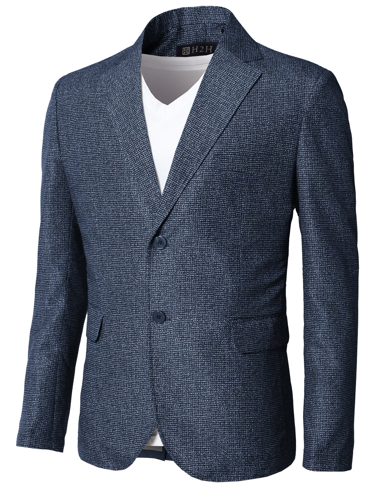 H2H Men's Travel Stretch Slim Fit 2-Button Side Vent Solid Blazer Jacket Steelblue US L/Asia XL (KMOBL0121)