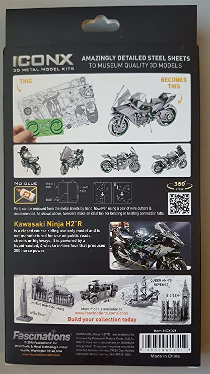 Metal Puzzle Metal Earth Fascinations Iconx Motorcycle 3D Laser Cut Models, Rompecabezas de Metal