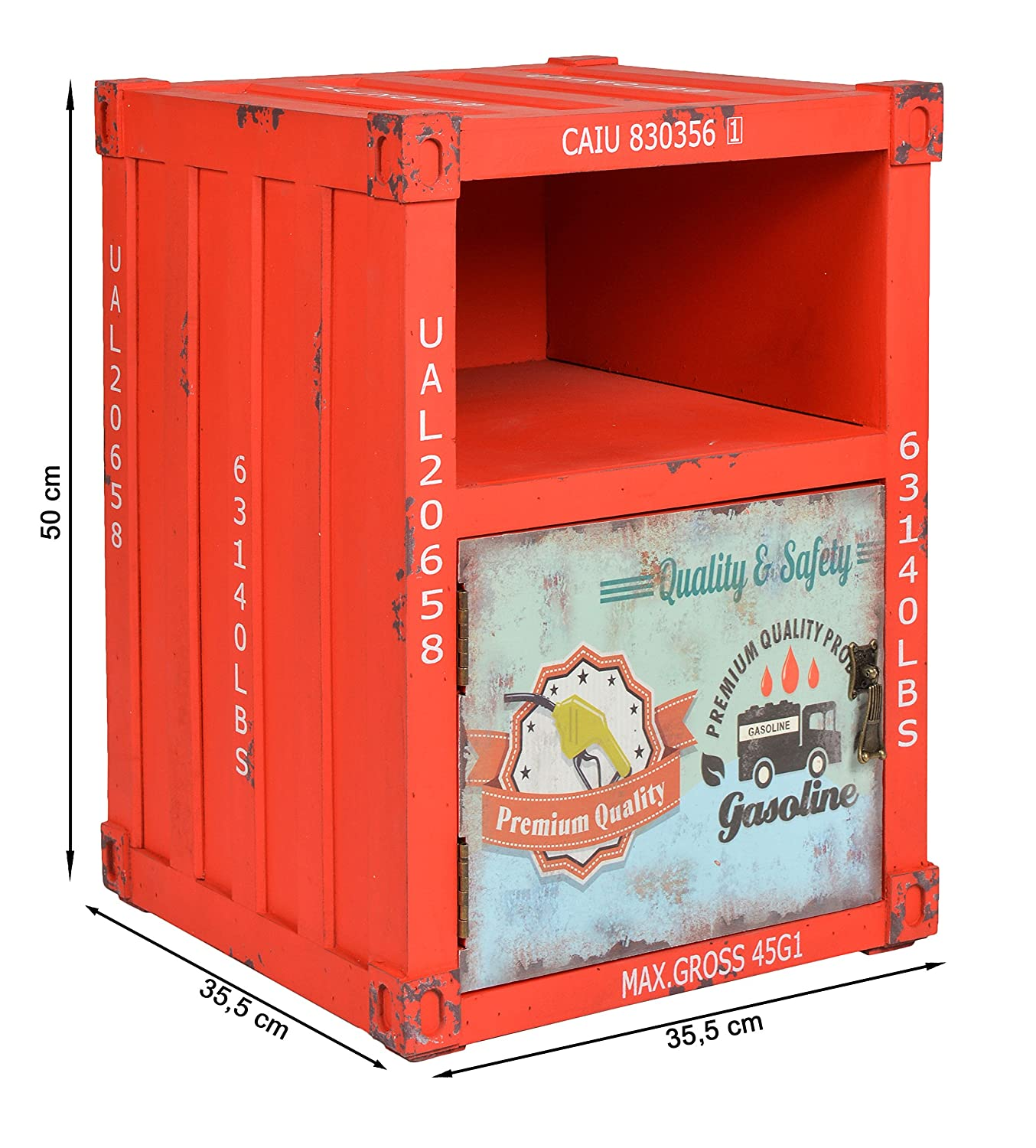 Ts Ideen Red Chest With Shelf And Door Cabinet Cupboard Storage  # Meuble Container