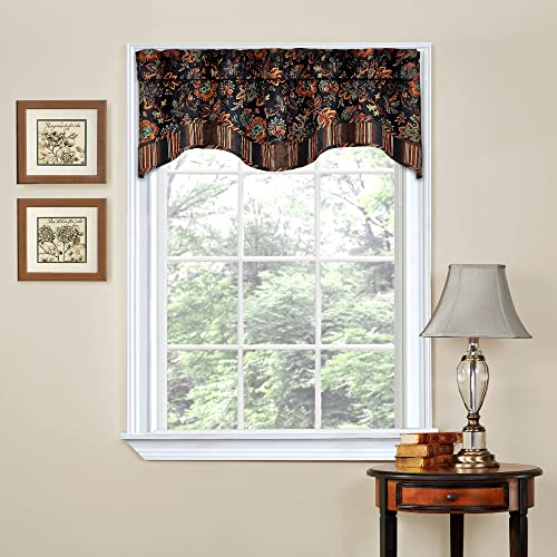 Traditions By Waverly Valances for Windows – Navarra 52 x 16 Short Curtain Valance Small Window Curtains Bathroom, Living Room and Kitchens, Onyx